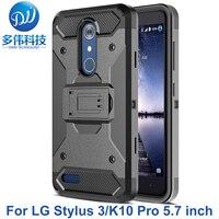 3 IN 1 Zware Armour Shockproof Hard Stand Telefoon Case Voor LG Stylus 3 K10 Pro Stylo 3 LS777 Telefoon Tas Met Riemclip Holster