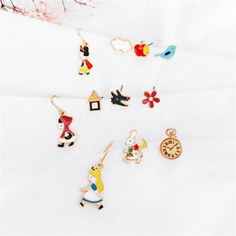 1 Set Snow White Little Red Hooded Alice Earrings Fairy Tale Cartoon Japanese Lovely Sweet Anime Basic Stud Earrings