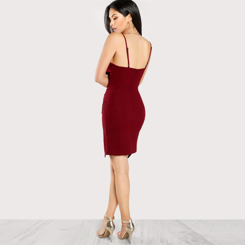Burgundy Spaghetti Strap Sleeveless Asymmetrical Dress With Zip