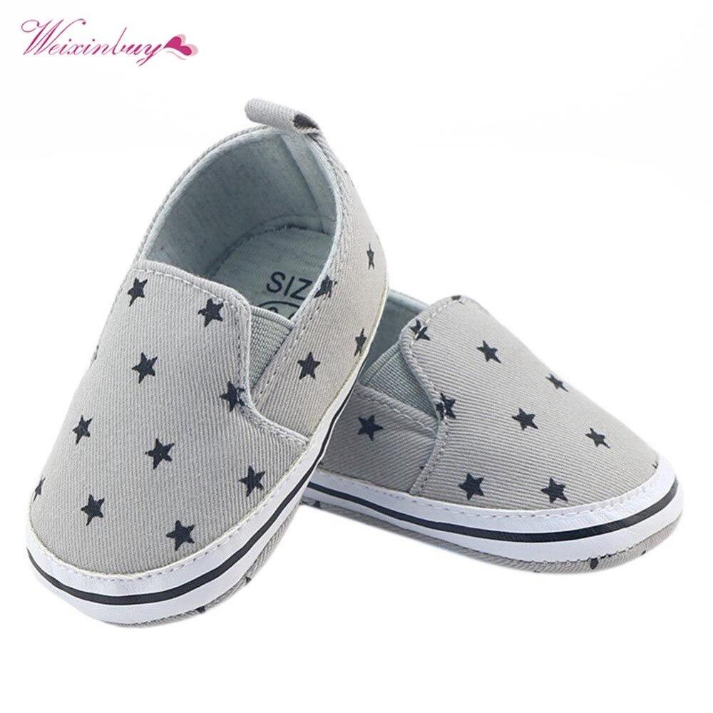 WEIXINBUY Infant Prewalker Toddler Girls Kid Gray Star Print Soft Anti-Slip Crib Cotton Shoes 0-18 Months