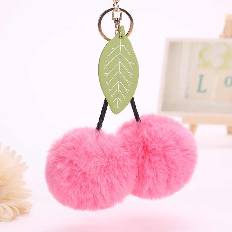Mulheres cereja Chaveiro pele nova Saco bonito Encantos Acessórios faux Fur PomPom feminino Presente da jóia do Anel Chave Do Carro K1622