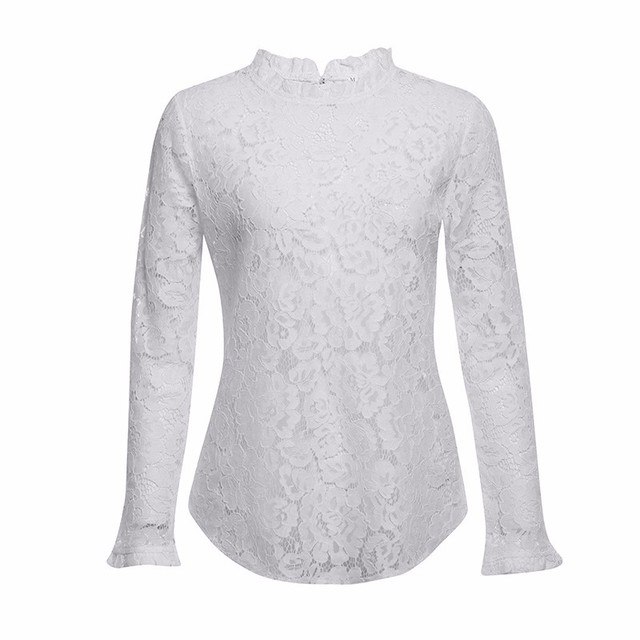 BEFORW 2019 Women Sexy Lace Hollow Out Perspective Blouse Shirt Elegant Flare Sleeve Black White Blouses Casual Floral Tops 5