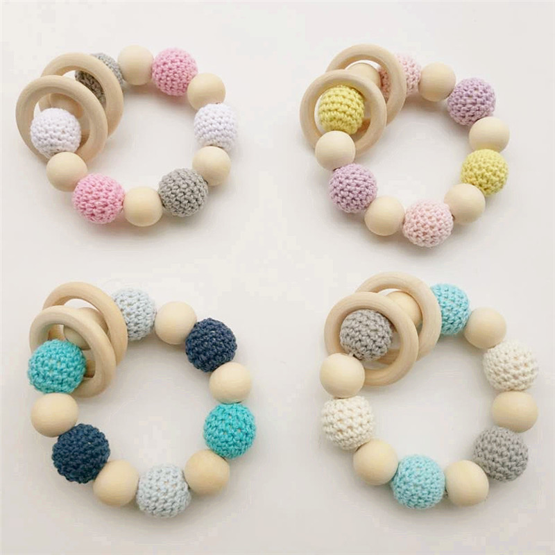 Купить с кэшбэком Chenkai 100pcs 16mm 20mm Round Knitting Cotton Crochet Wooden Beads Balls for DIY decoration baby teether jewelry necklace Toy