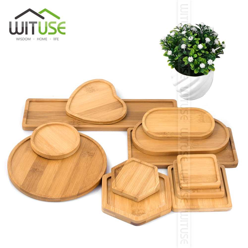 Bamboo Crafts Flower Nursery Tray Fern Succulent Bonsai Planter Pots Home Decoration Square Round Heart Oval 12 Types Hot Sale