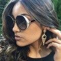 Afofoo rodada do vintage óculos de sol designer de moda da marca de metal mulheres óculos de sol espelho retro senhoras uv400 shades eyewear