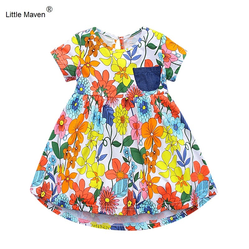 2017 New Brand Little Maven  1-6 Years Girls Short Sleeve Floral Summer Dress Cotton Casual Dresses Kids Clothing KF159 little maven 2017 new summer baby girls floral print dress brand clothes kids cotton duck rabbit printing dresses s0136
