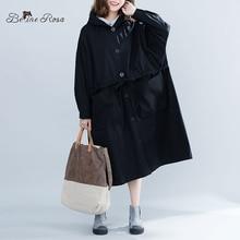 BelineRosa Casual Oversized Black Trench Coats Big Pocket Loose Plus Size Women Clothing Long Autumn 2019 JJDM0097