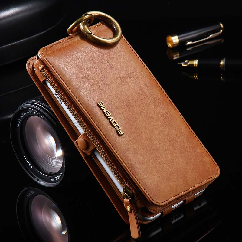 bilder für FLOVEME Retro Leder Telefon Fall Für Apple iPhone 5 S 5se 6 6 s 6 plus 6 splus 7 7 plus Fall Metall Ring Coque Karte Brieftasche JS0047