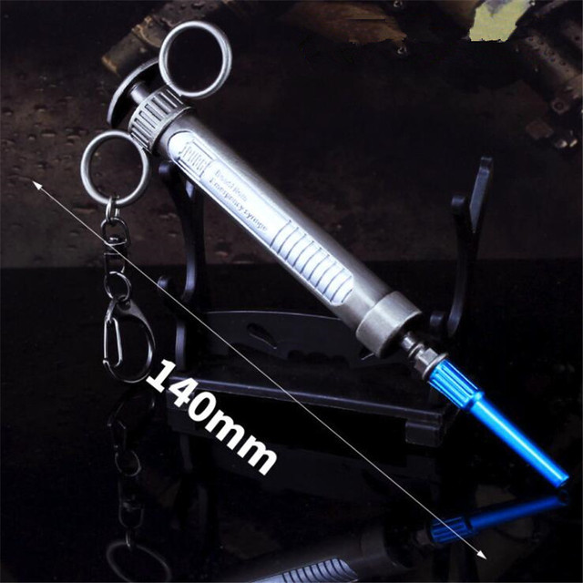 Game PUBG Epinephrine Syringe Playerunknown's Battlegrounds Cosplay Costumes Props Alloy Armor Model Key Chain Keychain