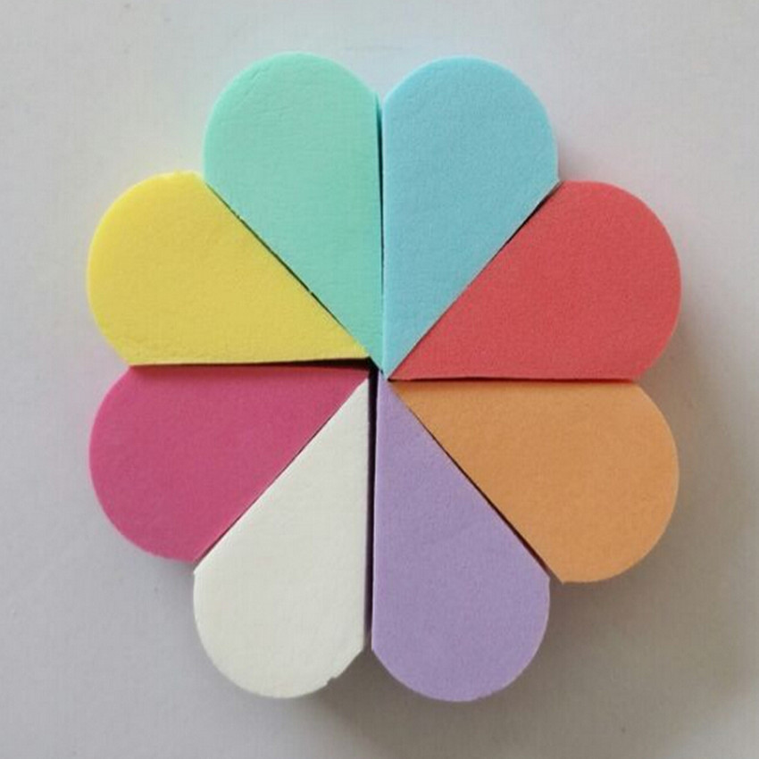 8Pcs/Lot Triangle Shaped Candy Color Soft Magic Face Cleaning Pad Cosmetic Puff Cleansing Sponge Wash Face Makeup Tools New bo