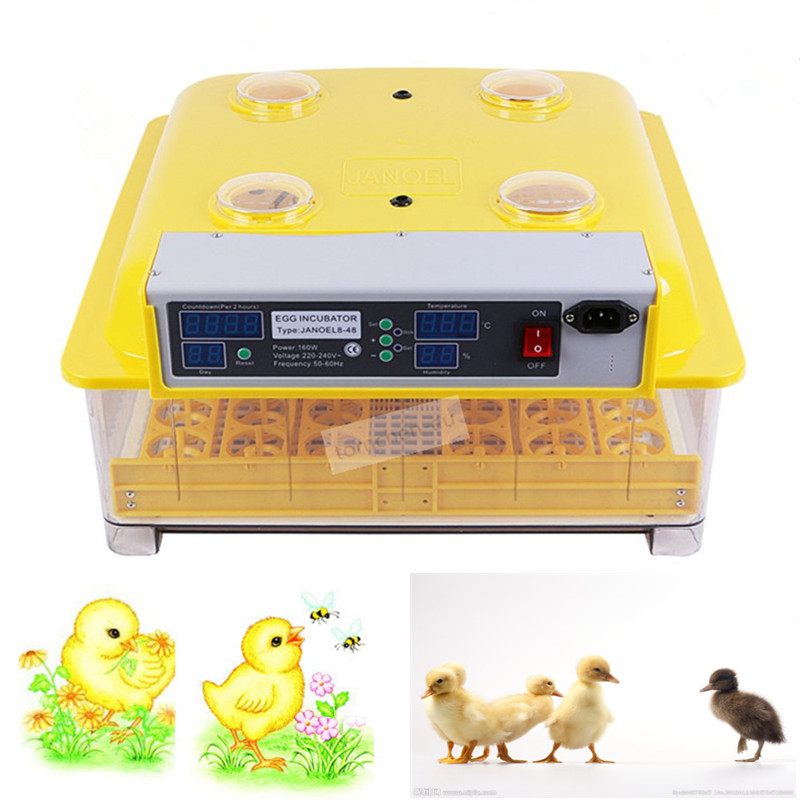 Brand New Automatic Mini Egg Incubator 48 Eggs Intelligent Large Capacity Incubator Brooder for Hatching brand new a155 6 48 288