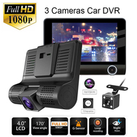 4 inch 3 Cameras Full HD 1080P Car DVR G sensor Dash Cam with Rear View Camera Wide Angle Len Vehicle Video Recorder Portable