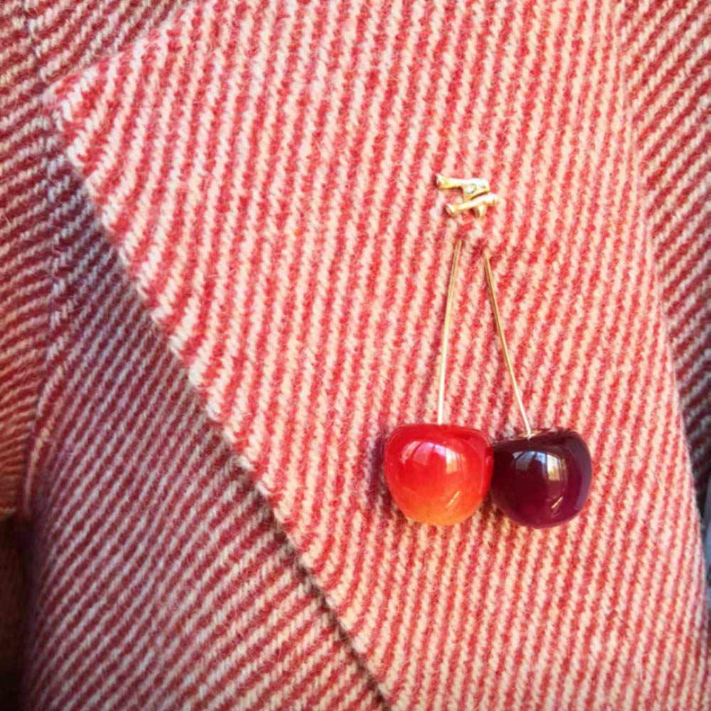 1 adet Kadınlar Broş Kırmızı Kiraz Meyve Pimi Ceket Kazak Gömlek Broş Aksesuarları