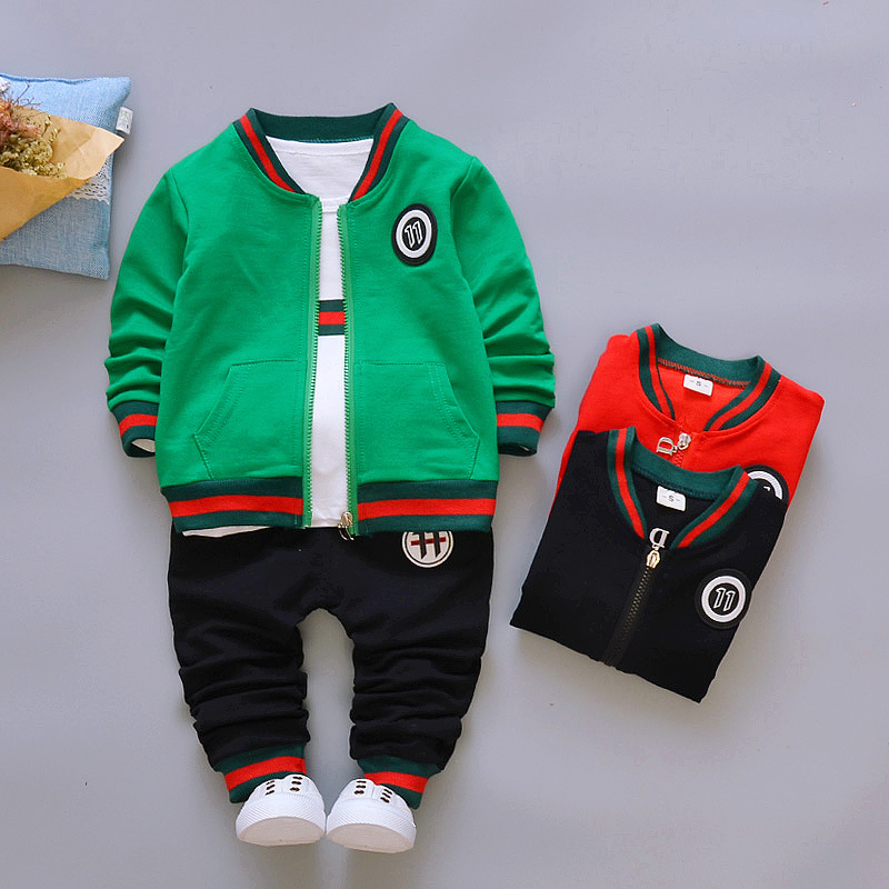2018 Autumn Fashion Boys Set Coat T Shirt Pants 3PS Kids Clothes Casual Solid Toddler Boys Tracksuit Children Clothing Suit 1-5T children boys clothes sets for girl baby suit high quality cartoon spring autumn coat t shirt pants set kids clothing set 1 4y