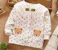 Polka Dot Dot otoño del algodón del oso lindo Girls chaquetas Cardigan bebé embroma la capa ropa de los niños Outwear las capas S0153