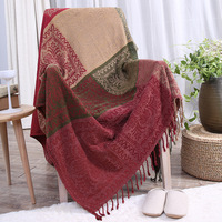 Multi function Thicken Thread Full Cover Chenille Blanket Red Decorative Cobertor Red Manta Para Sofa Beds Travel Plaid