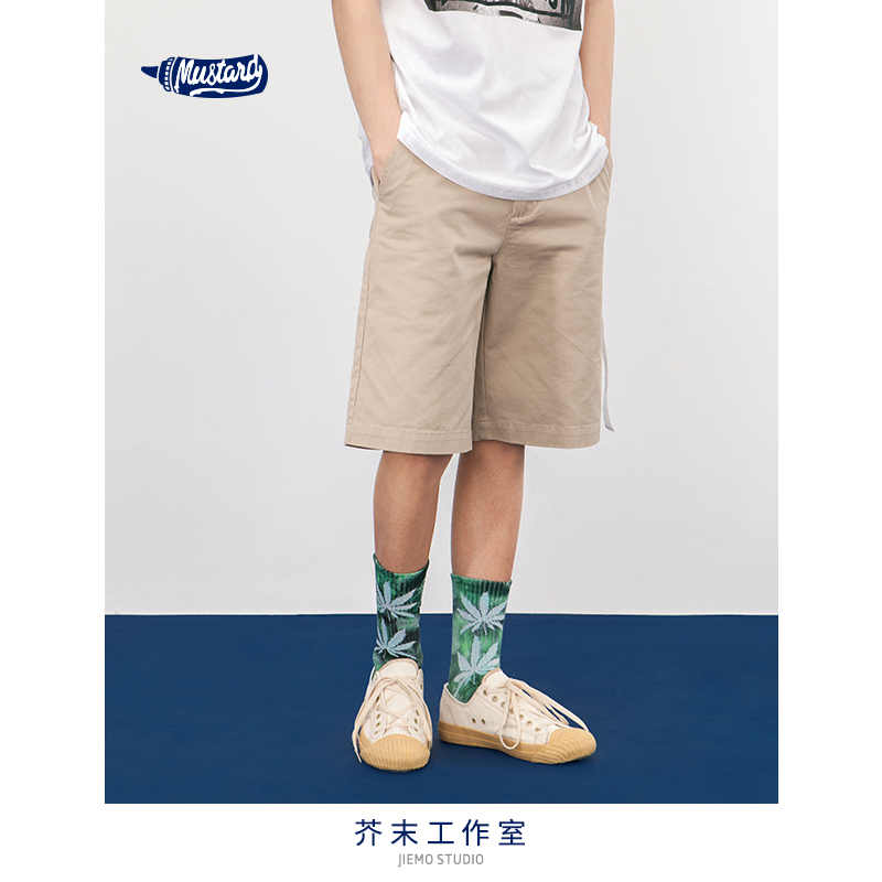 SODA WATER Shorts Summer Cotton Elastic Waist Army Green Male White Stripe Side Cargo Shorts For Man Casual Short-Pants 8413S