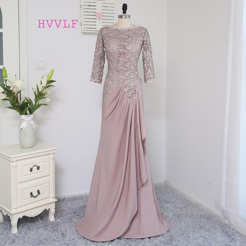 Плюс Размеры Браун 2018 Мать невесты платья A-Line 3/4 рукава шифон Кружева Свадебная вечеринка платье платья для мам для свадьбы