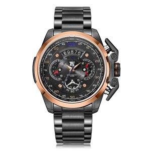 Image 4 - T5 מותג יוקרה שחור זהב זכר שעון צבאי קוורץ ספורט שעון יד גברים הכרונוגרף עמיד למים Mens שעוני ספורט שעוני יד