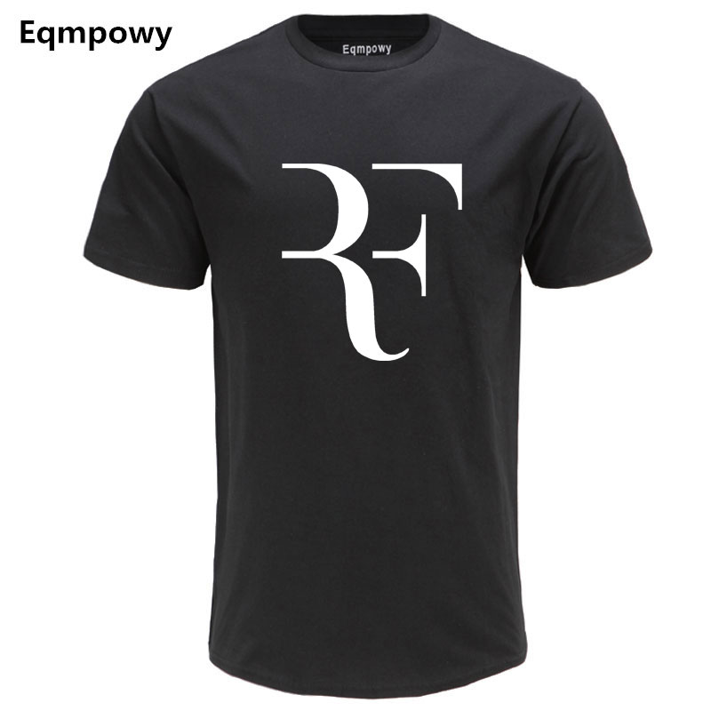 Eqmpowy Fashion Roger Federer RF Print   T  -  Shirt   Men Short Sleeve Tshirts Tops Hip Hop   T     shirt   homme Man cotton casual   T     shirts