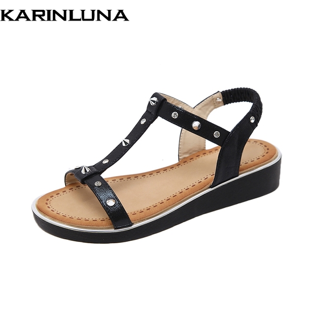 27d786274cf6e KarinLuna Large Size 35-42 T-strap Women Shoes Crystal Platform Wedges  Sandals Elastic Band Casual Ladies Shoes Sandal Woman