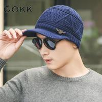 COKK Men S Winter Hats Knitted Wool Skullies Casual Cap With Brim Plaid Pattern Gorros Thick