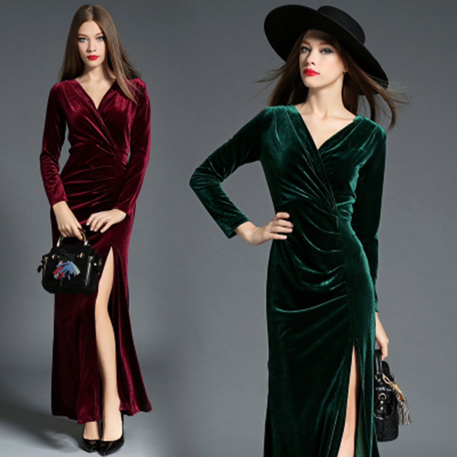 2018 runway dress winter abend party kleider red velvet dress frauen langarm vintagelong maxi kleider vestido longo robe