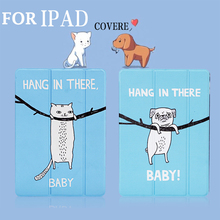 Triple Folding Cartoon Stand Cover for New iPad Air 1 2 9.7 2017 Mini 3 4  Capa Coque+Touch Pen