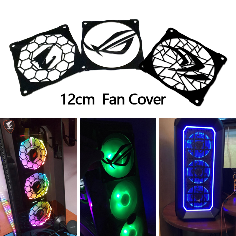 2pcs/lot DIY 12cm*12cm Fan Cover Acrylic Cover use for 120mm Radiator 120mm Fan with Cool Logo for Computer Case Cooling metal computer case fan grill 12cm