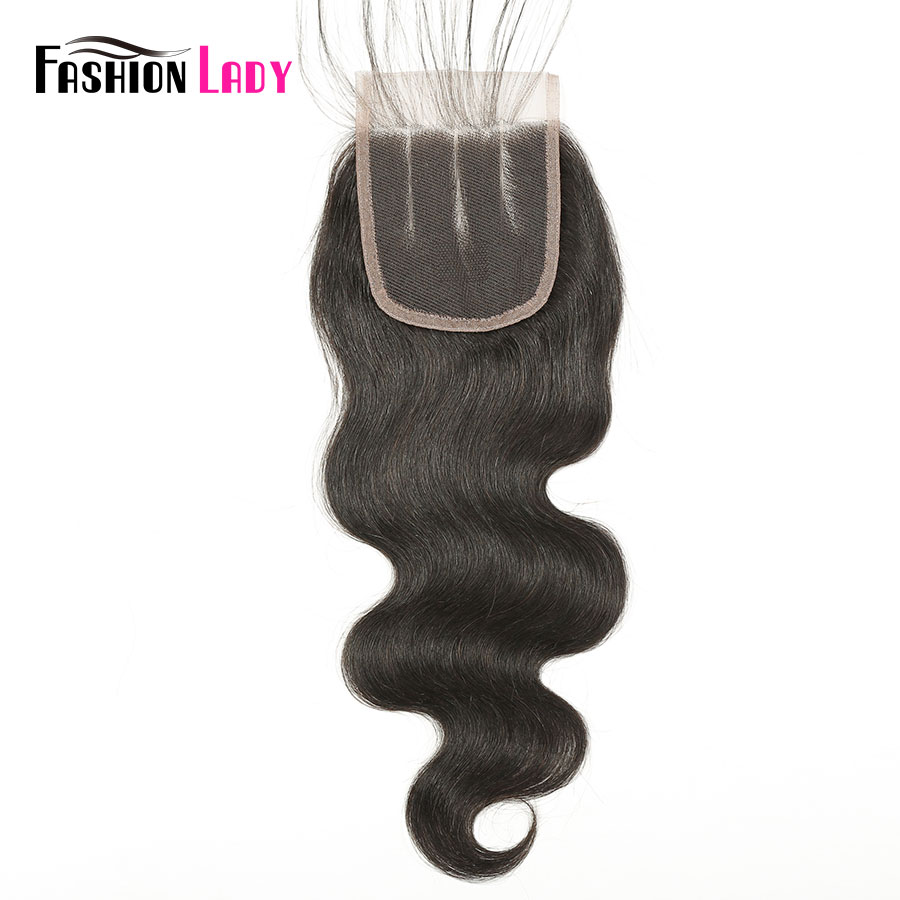 Fashion Lady Pre-Colored 4*4 Brazilian Hair Lace Closure 100% Human Hair Body Wave Closure 1b Middle Part Non-Remy