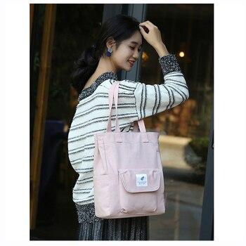 цена на Reusable Shopping Bag Foldable Tote Bag For Women 2019 Handbag Roomy Canvas Bag Fashion design