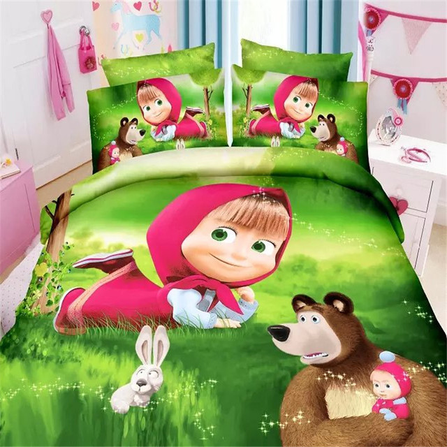 Домашний текстиль, 3d маша и медведь детей постельных принадлежностей 2/3 шт. twin/single размер пододеяльник простыня наволочка постельное белье набор