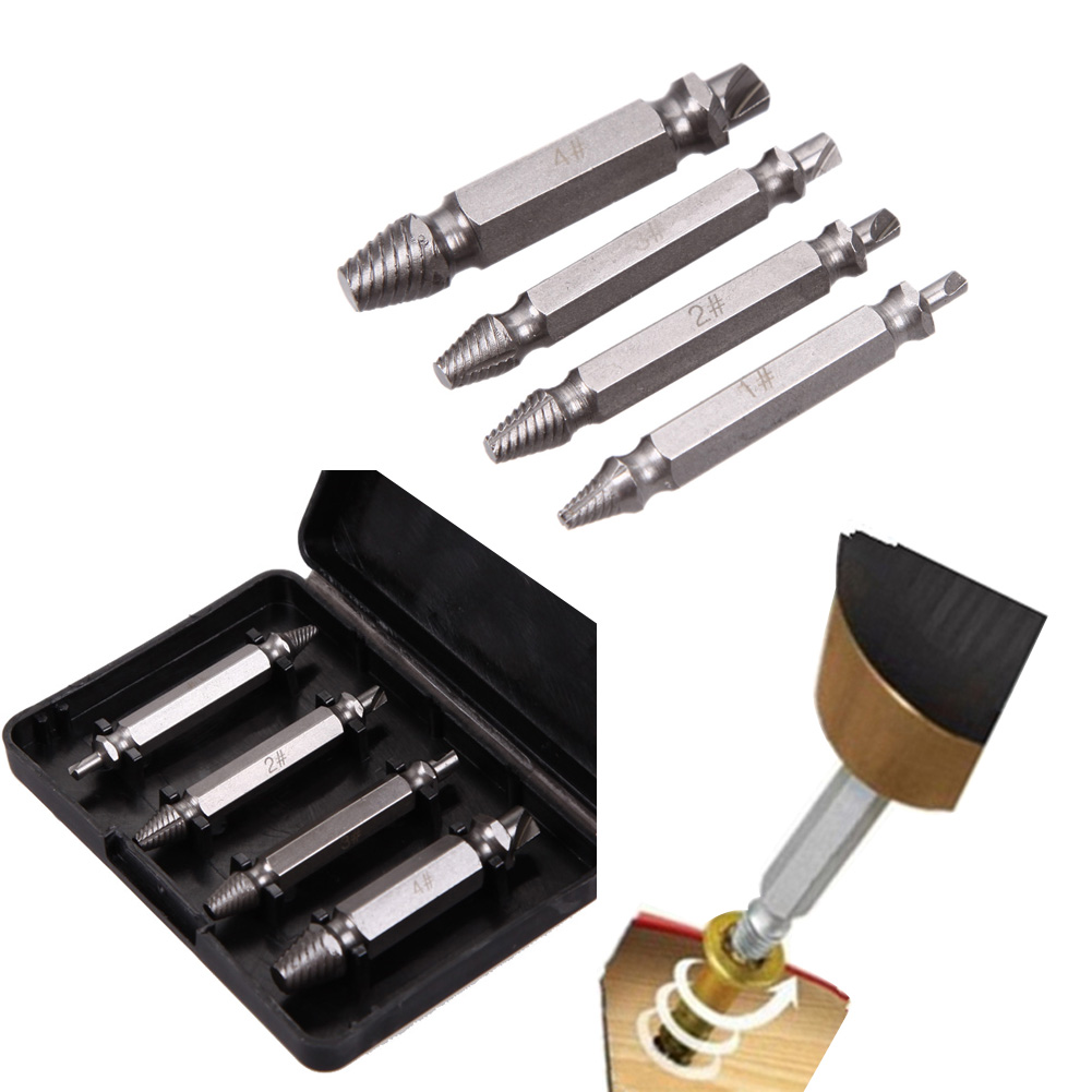 купить 4pcs Damaged Screw Extractor Stepped Drill Bits Speed Out Broken Extractors for Screwing Out Bolts Removal Repair Tool недорого