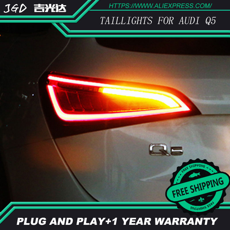Стайлинга автомобилей задний фонарь задние фонари для Audi Q5 2009-2015 светодиодные задние фонари задний багажник крышка лампы DRL + сигнала + Тормо...