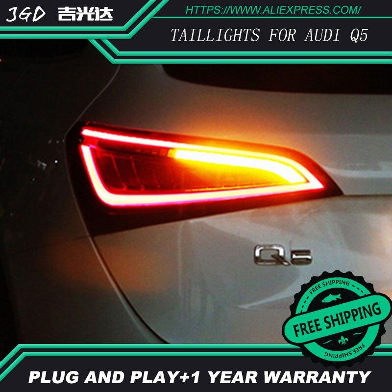 Estilo de coche luz luces de cola para Audi Q5 2009-2015-LED de la lámpara de cola posterior tronco cubierta de la lámpara drl + señal + de + marcha atrás luces traseras