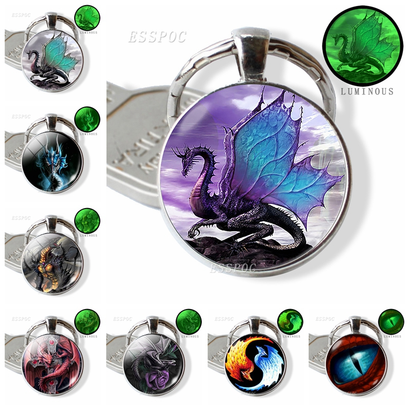 Glow In The Dark Dragon Keychain Steampunk Dragon Glass Cabochon Keyring Handmade Gifts For Men For Women Luminous Jewelry