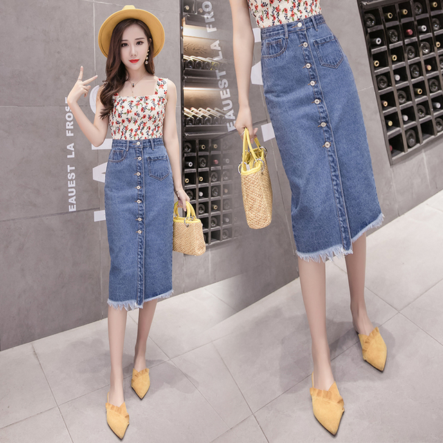 56eb5f808 INS Denim Skirt 2018 Spring Summer New Plus Size 5XL Women's Mid-length  Skirt Button Pocket All-match Slim Skirt Female