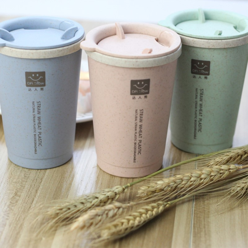 2PC 300ML double walled Straw wheat plastic mug creative Environmentally friendly BPA Free coffee mug with cover Straw wheat cup