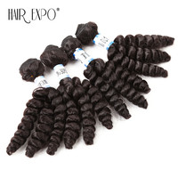 Deep Loose Wave Synthetic Hair Weave Heat Resistant 4Bundles Sew in Hair Extensions 16inch 4pcs/pack for a head Hair Expo City