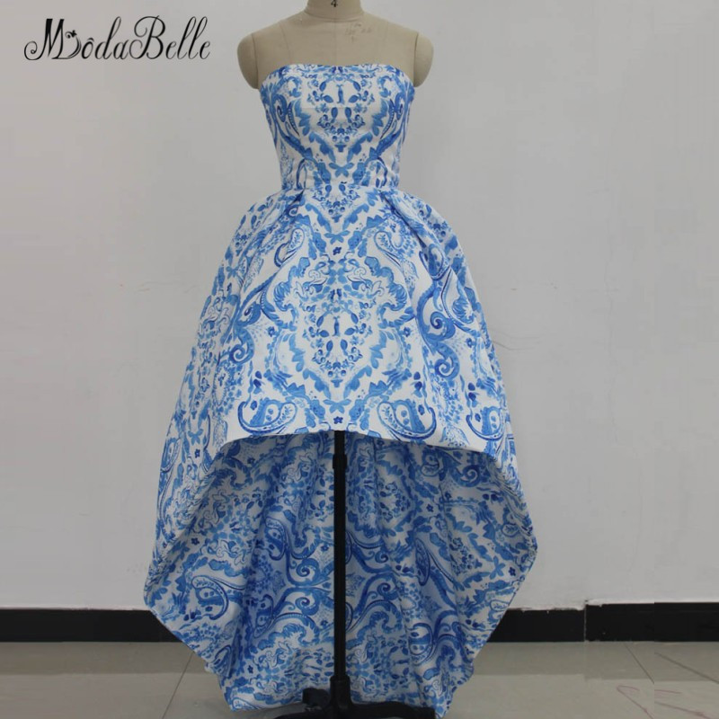 modabelle Gorgeous Blue Prom Dresses Front Short Long Back Vintage Floral Printing Pattern Evening Dress Long Party 2018
