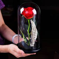 Romantic Figurine Artificial Rose with Lampshade Valentine's Day Wedding Rose Gifts with Skeleton Hand Wooden Base Home