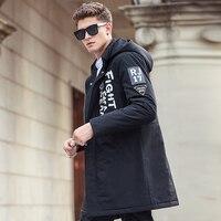 Pioneer Camp 2016 New Black Fashion Men Parkas Long Style Winter Jacket Men Brand Clothing High