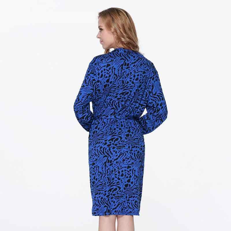 Горячая Распродажа, женская синяя Ночная сорочка с леопардовым принтом, ночная рубашка 2019, Новая женская ночная рубашка, японское кимоно купальный халат, сексуальный халат подружки невесты