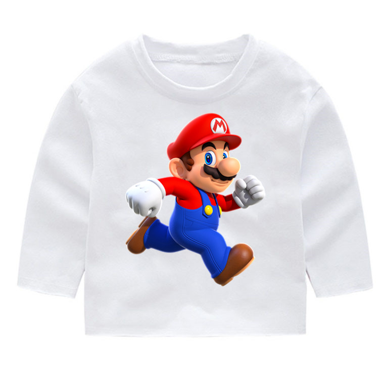Super Mario Kid 39 s Print Cotton Fashion Long Sleeve T shirts Kid 39 s Long Sleeve Tops Baby Girl Harajuku Clothes in T Shirts from Mother amp Kids