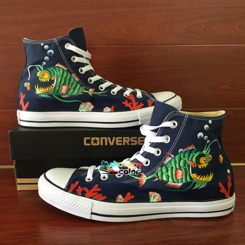 ... Angler Fish Hand Painted Shoes Blue Converse Chuck Taylor Men Shoes  Original Design High Top Sneakers ... 4bf7c3163e58