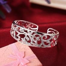 Pure Silver 925 Bangle Bracelets for Women Adjutable Wrist Cuff Bangle Zirconia Wristband Pulseira Femme Wedding Bridal Jewelry
