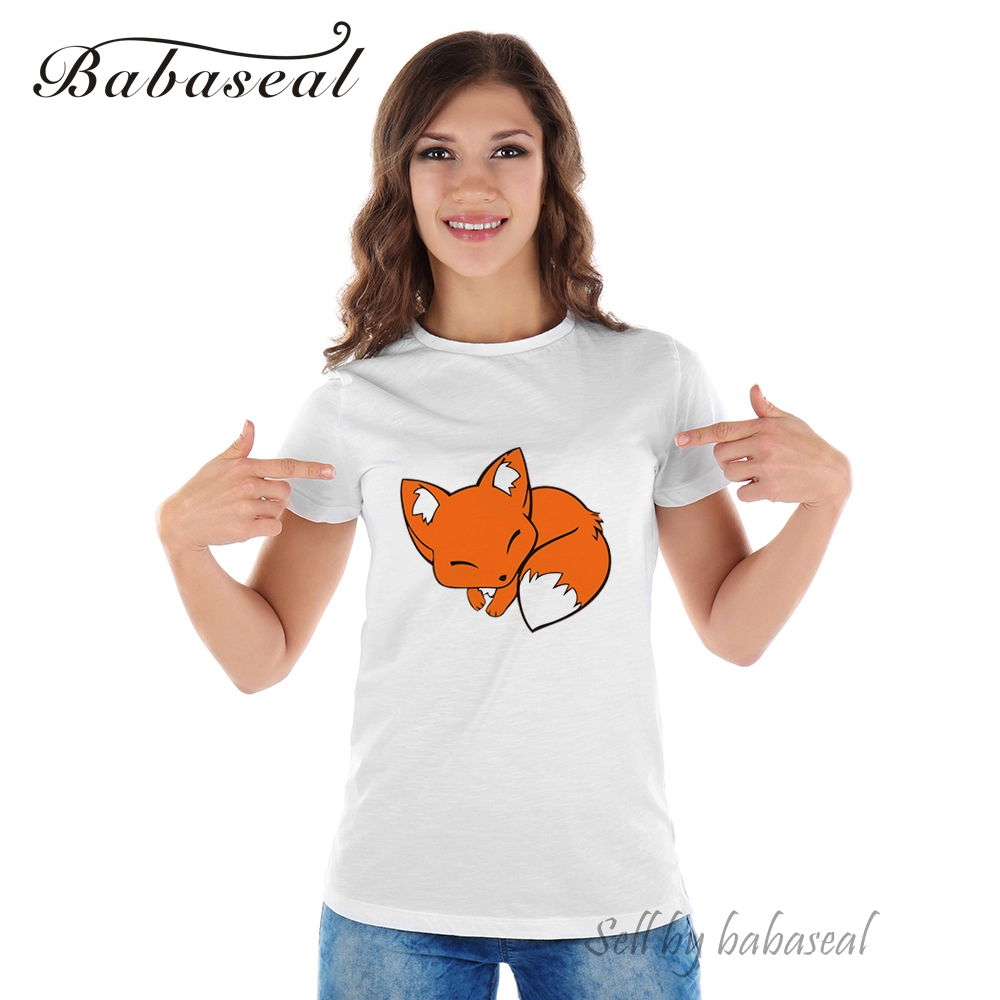 wholesale outlet for sale undefeated x Babaseal Cute Fox Cartoon Tshirt Tumblr Korean Ladies Tops Fox ...