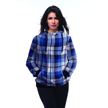 New Arrival 1021 Women Girl grid plaid tartan Blue Prints Interloop Hooded Sweatshirt Fashion Suit Outside Workout Hoodies