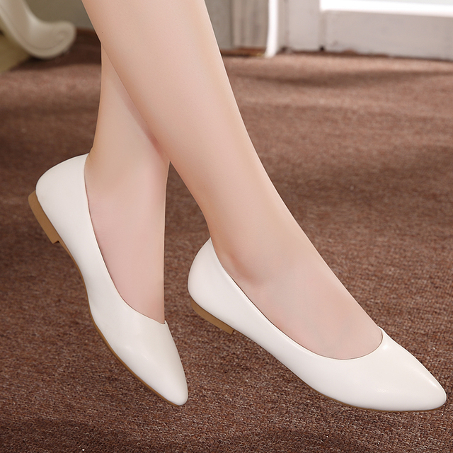 Women Shoes Flat 2017 New Leather Platform Heels Shoes White Women Pointed Toe Leather Girl Shoes