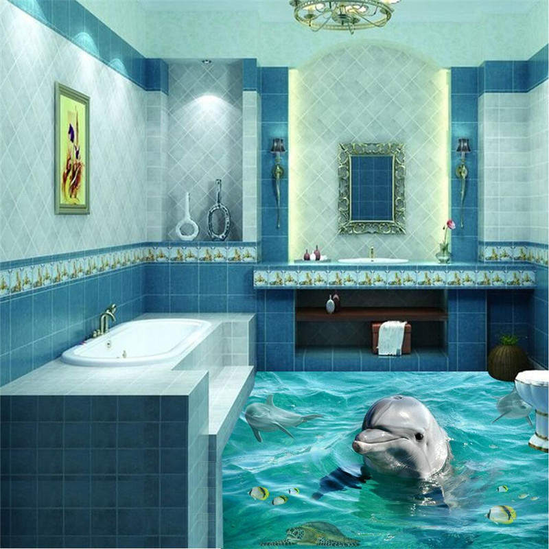 Fabulous Us 18 0 40 Off Beibehang Photo Floor Murals Wallpaper 3D Stereoscopic Dolphin Ocean Bathroom Murals Pvc Wallpaper Self Adhesive Wall Painting In Download Free Architecture Designs Scobabritishbridgeorg